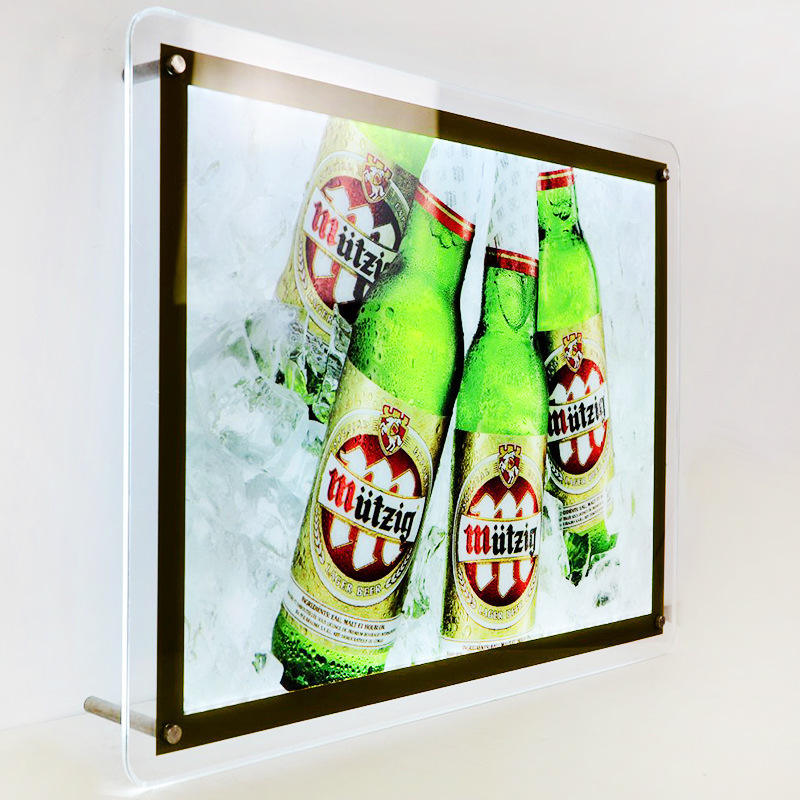 LED Acrylic Crystal Slim Light Box Display Edge Lit Illuminated LED Sign Box