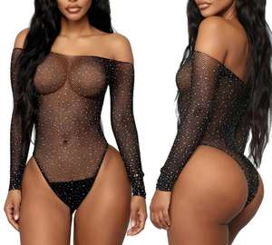 2020 See Through Verleiding Bodysuit Sheer Mesh Femme Hot Transparante Shiny Sequin Visnet Vrouwen Rhinestone Sexy Lingerie
