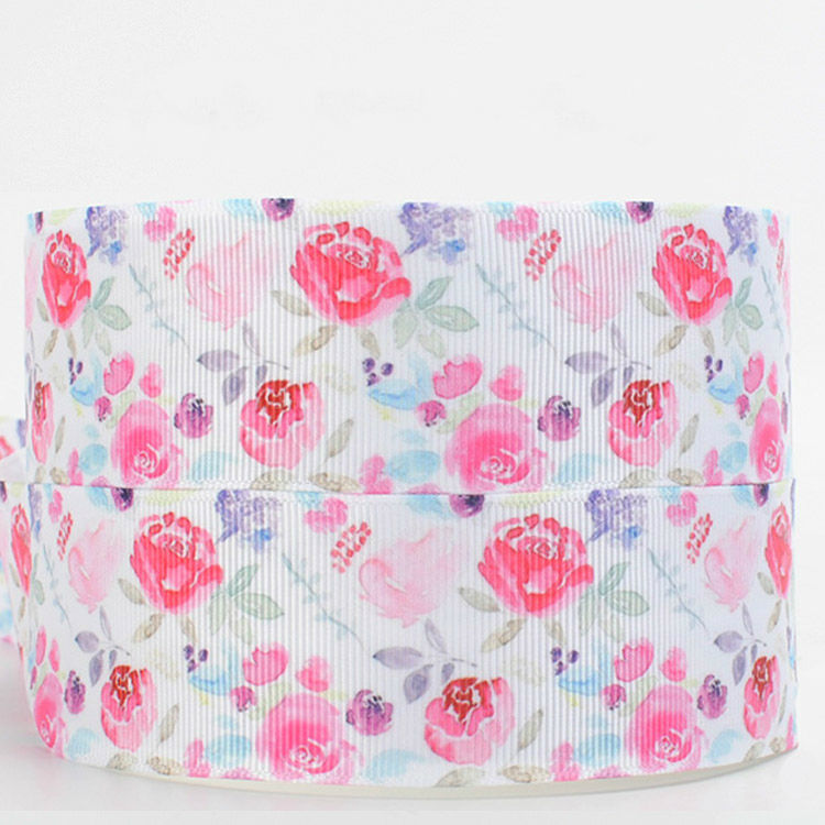 Winsome 38mm wholesale colorful flower series print grosgrain ribbon for DIY