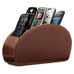 High Quality PU leather Suede lining Mobile Phone DVD TV Remote Control Holder Home Organizer