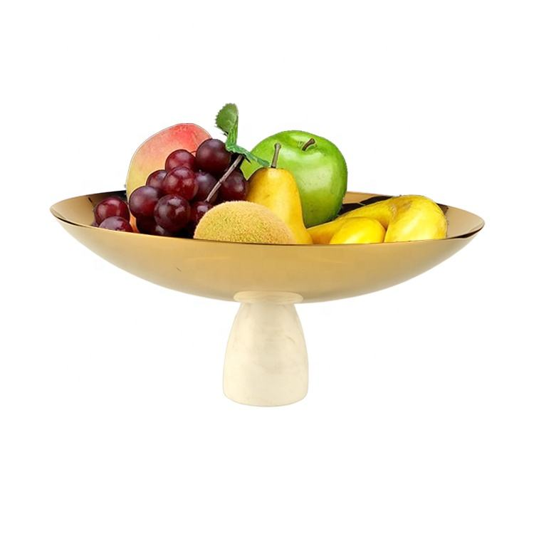 Customized China Factory stainless steel metal golded plated fruit bowl with marble base manufacturers