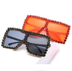Large Flattop Vintage Oversized Sun Glasses 2018 Fashion Pink Rhinestone Square Sunglasses for Women