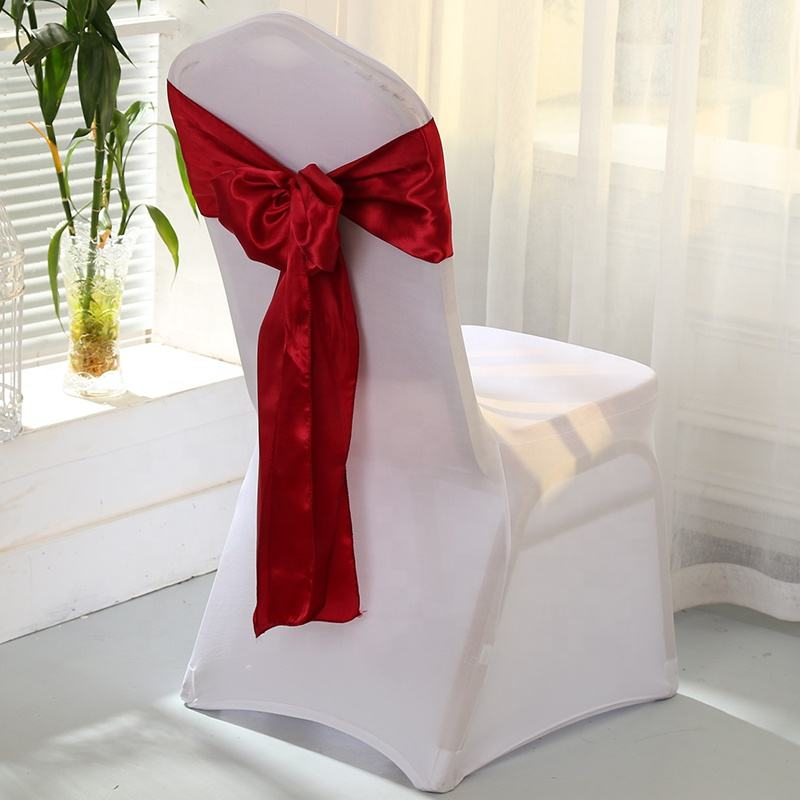 Cheap party bow wedding satin chair sashes chair tie backs decorations