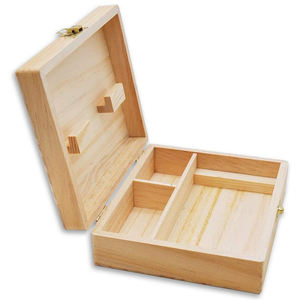 wholesale price custom unfinished wood stash box pine wooden stash box with lock and key