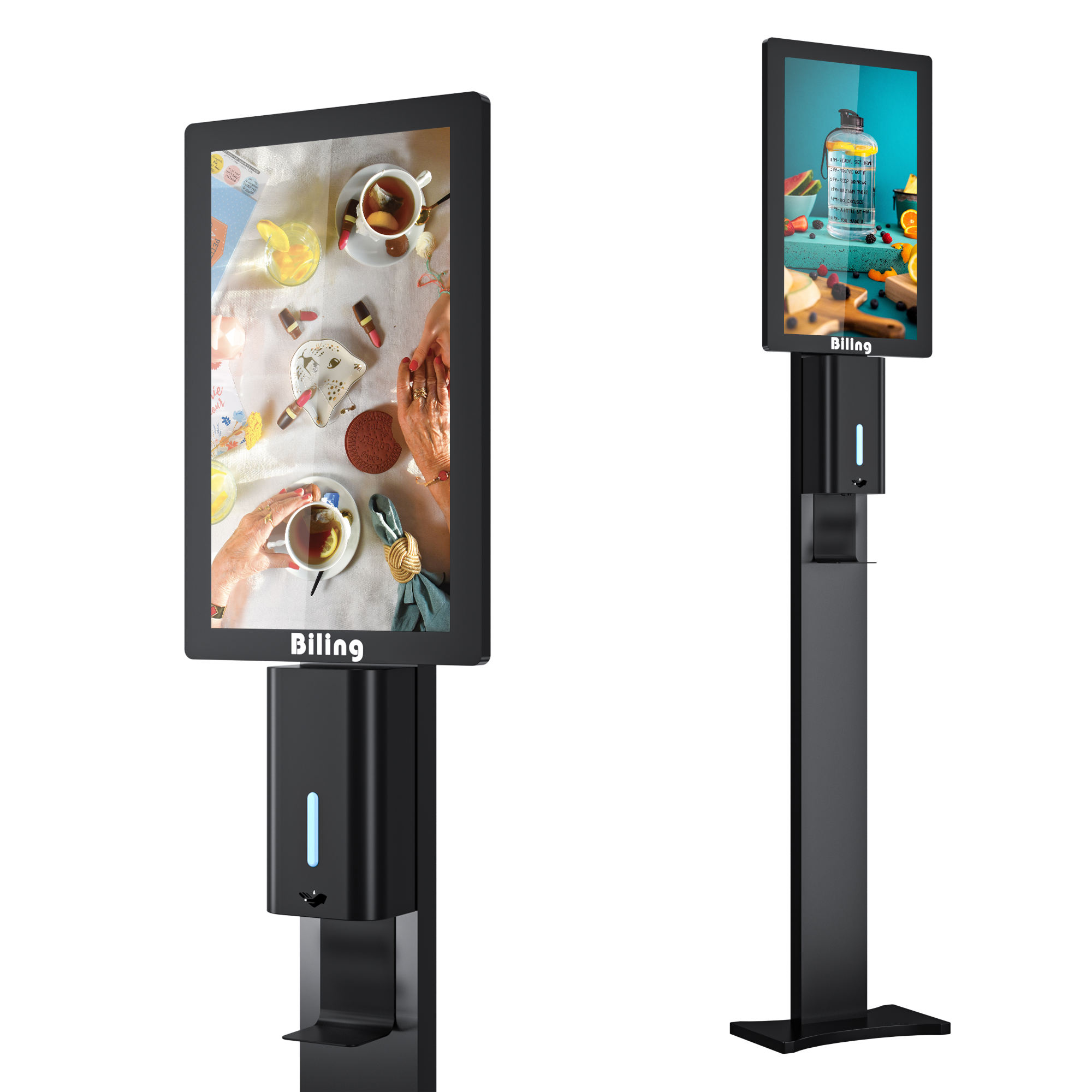 NEW Function Non-Touch ADs digital signage display 21.5inch with foaming soap hand sanitizer dispenser