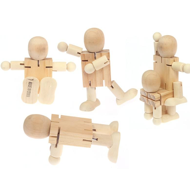 Wooden figures white blank DIY wooden robot puppet joint puppet children's educational toy cartoon drawing graffiti