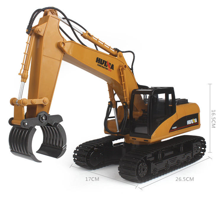 Factory HuiNa 1570 RC Car 2.4G RC Excavator 16 Channels Metal Charging RC Car Model Toys