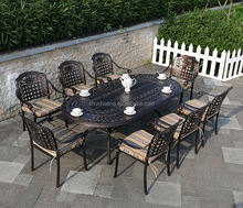 New design outdoor garden furniture cast aluminium dining set long table with 6 or 8 chairs