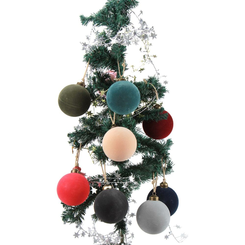 3.2 Inch(8cm) New Arrival Factory Wholesale Velvet Surface Christmas Glass Balls Ornaments Bauble For Xmas Tree Decoration