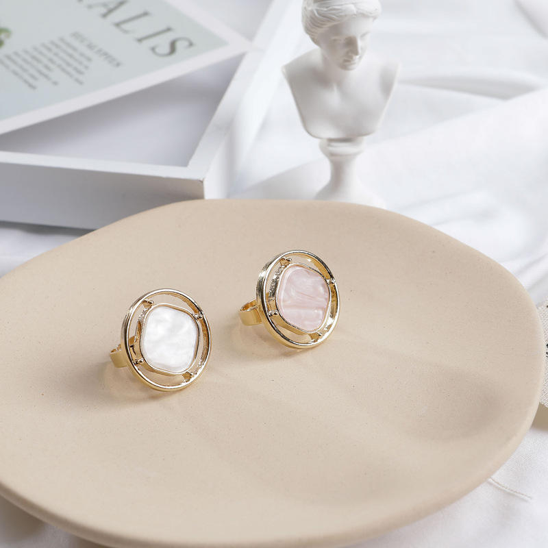 European and American Ins Ladies Rings Simple Style Circular Acetic Acid Plate Rings KL5003
