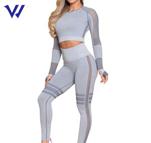 Women's SportsWear Sexy Fitness Suits Mesh High Waisted Workout Legging Yoga Wear Set With Thumb Hole