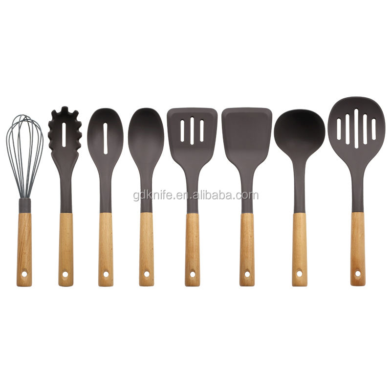 Eco-friendly 8 Piece mit Natural Wooden Handles Silicone Cooking Kitchen Utensil Set