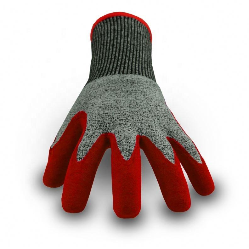 Cut 5 good supplier rubber palm coated working gloves
