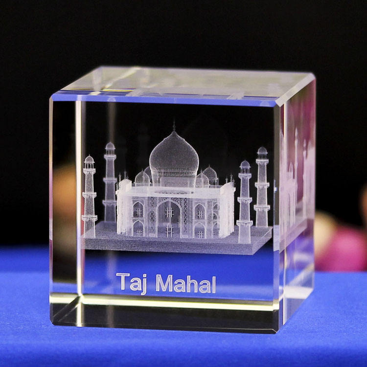 Wholesale K9 Famous Mosque Building 3d Laser Engraved Glass Crystal Taj Mahal Crafts For Souvenir Gifts