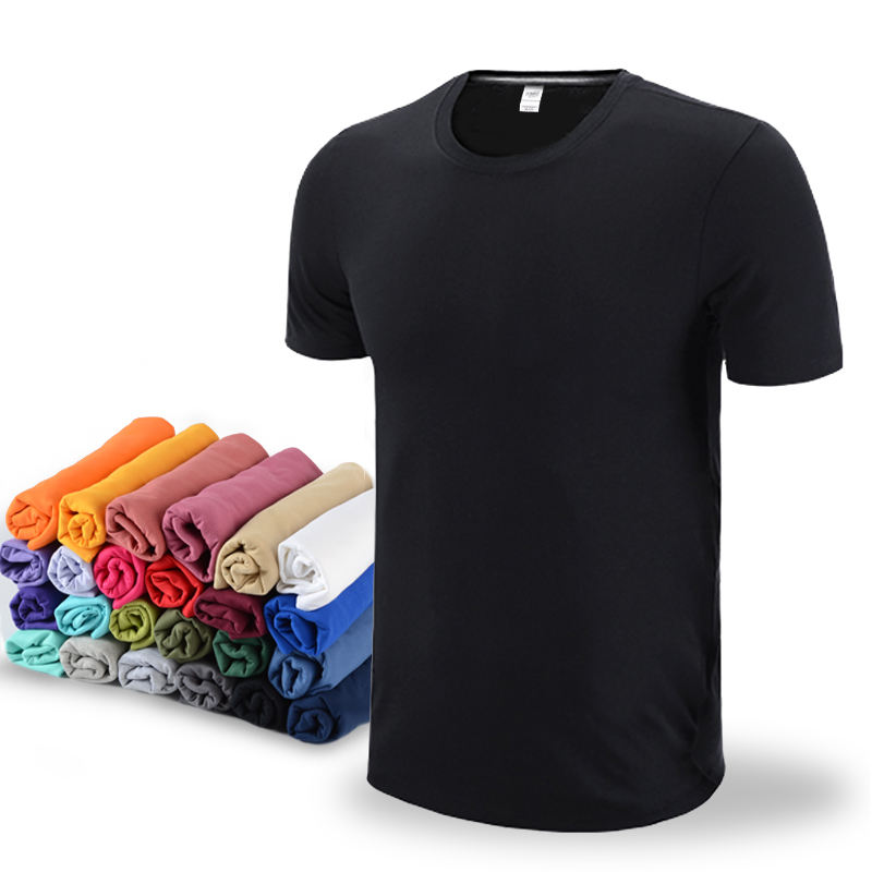 Solid Color Casual Custom Round Neck Short Sleeve 100% Cotton Men T Shirt