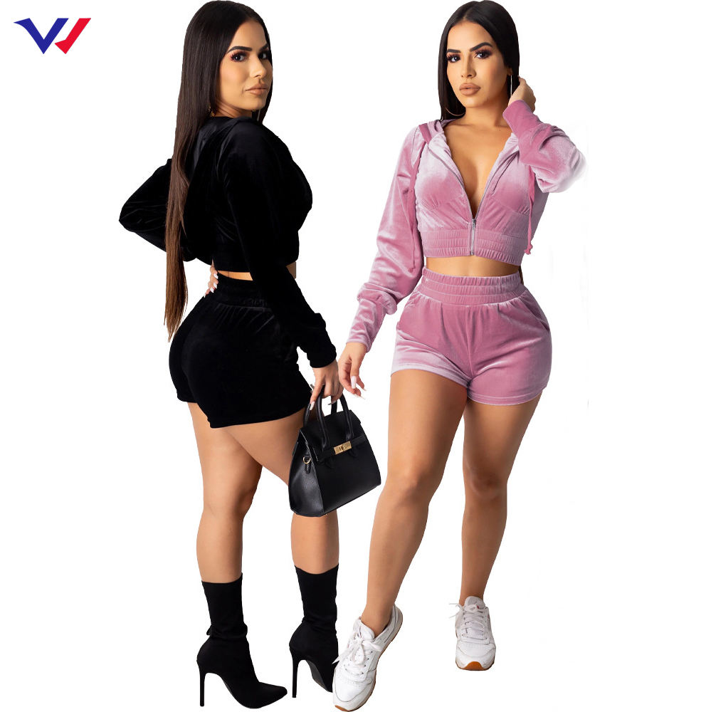 Hot sale outdoor running jogging suits custom 2 piece short set wholesale ladies 1 set fitted velvet pink tracksuit for women