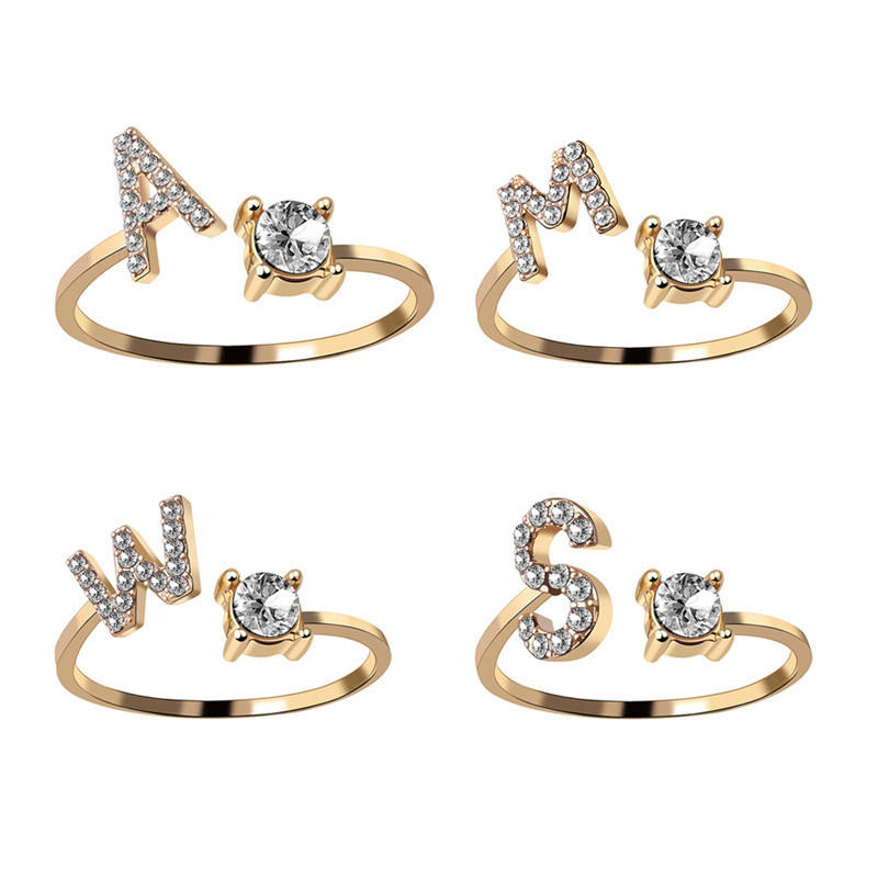 26 Letters Initial Diamond Bling Adjustable Open Ring for Women