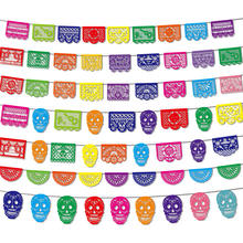 Mexican Theme Carnival Queue Party Decoration Square Banner Decorated Felt Flags Garland Day of The Dead Banner Skull Pattern