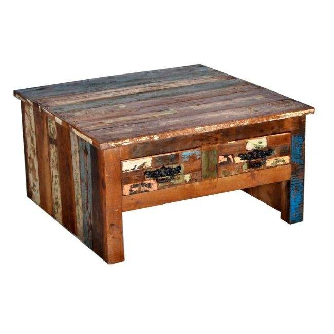 INDUSTRIAL & VINTAGE RECLAIMED SOLID OLD WOOD SQUARE COFFEE TABLE