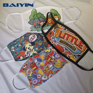 Three layers cotton and polyester Sublimation face cover Blank Washable and Reusable face wear