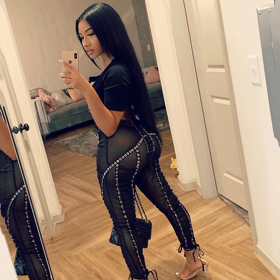 Hot Trendy Girls Bodycon Trousers Lace Up Legging Mesh Sexy Club Tight Pants Women Skinny Pants Women