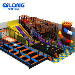 Kids Fun Amusement Park Plastic Indoor Playground set for kids With trampoline for jumping
