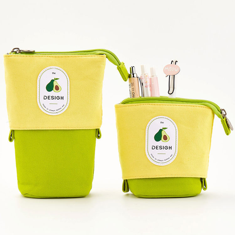 Stand up Pencil Holder Telescopic Pencil Case Transformer Pen Box Cartoon Cute Stationery Pouch Bag Canvas+PU Cosmetics Pouch
