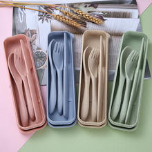 Wheat straw portable western tableware box set student travel knife and fork set three-piece