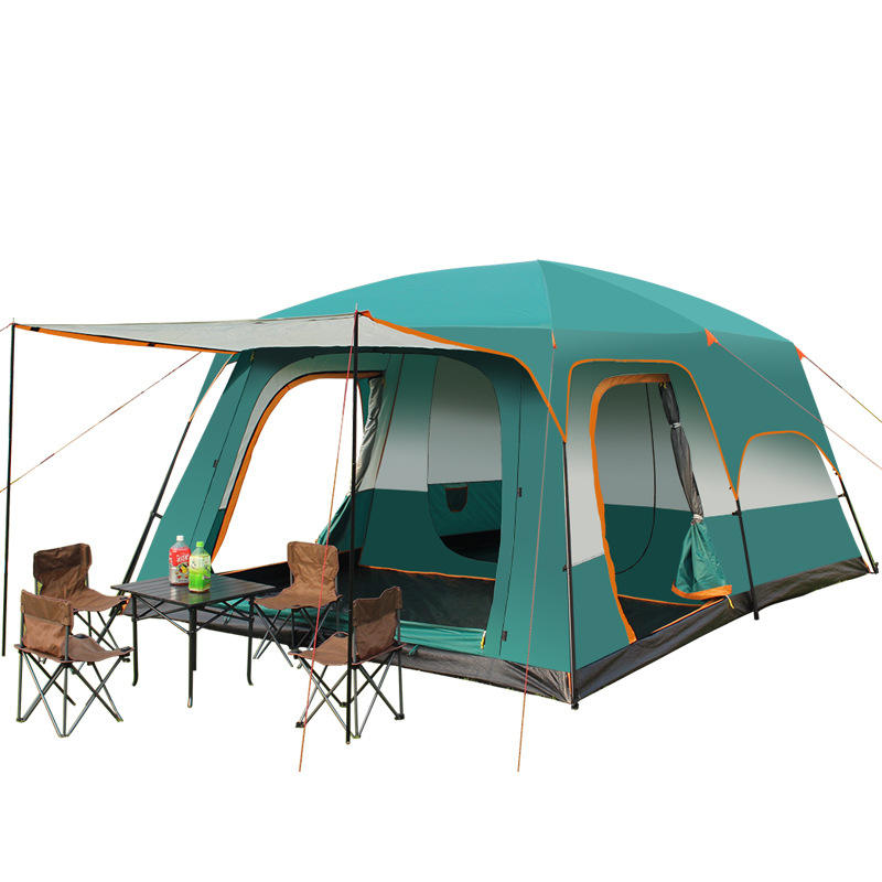 8-12 Persons Outdoor Large Space Family Camping Double Layers 2 rooms 1 living room camping tent 430*310*200CM
