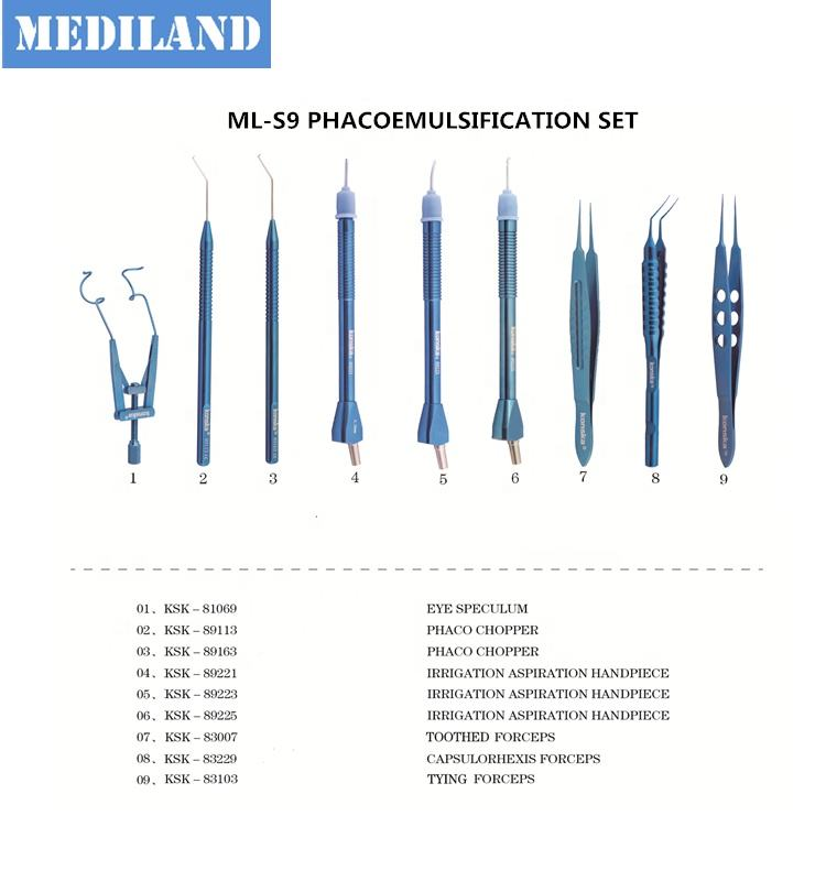 Ophthalmic surgical instruments ML-S9 phacoemulsification set ML-S21 Cataract surgery set ML-S15 small-kerf surgery set