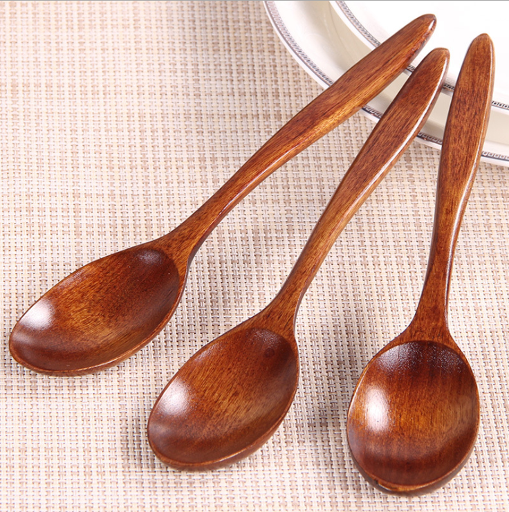 Eco Friendly Table Wood Soup Spoons for Eating Mixing Stirring Handle Spoon with Japanese Style 7inch Wood Spoon