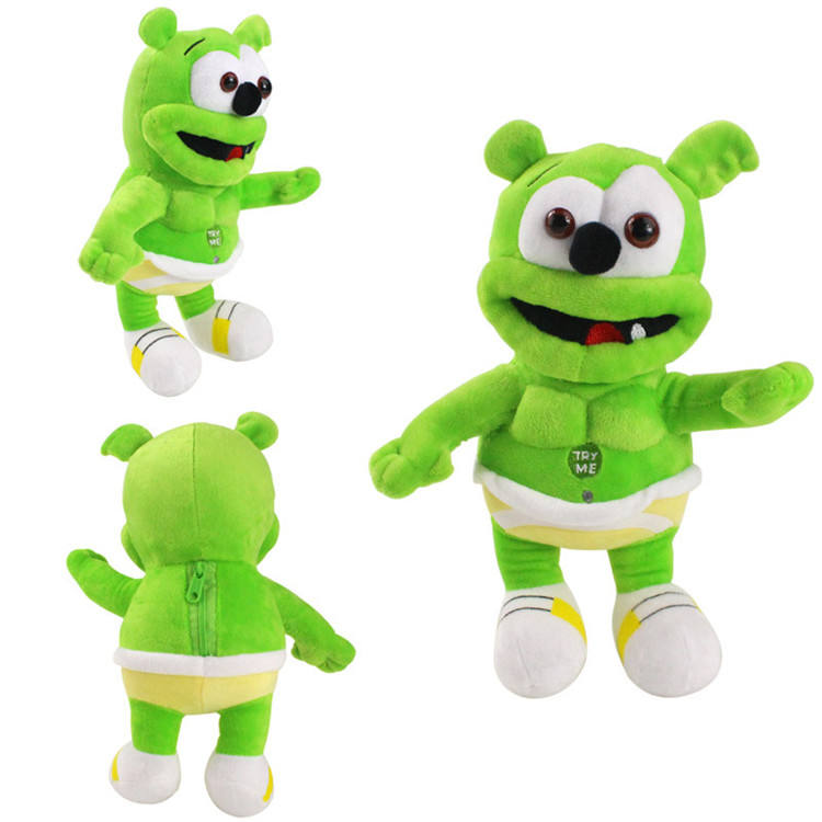 Wholesale 12inch new creative hight quality cuddly green color soft stuffed singing bear musical plush toy