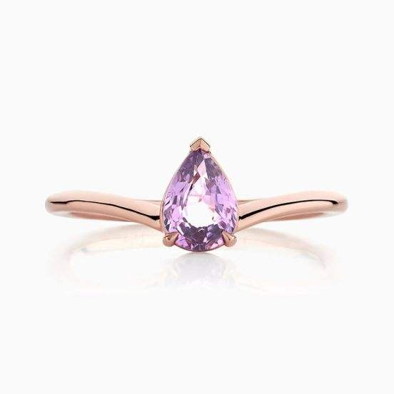 925 Sterling Silver Pear Cut Purple Sapphire Curved Stackable Ring
