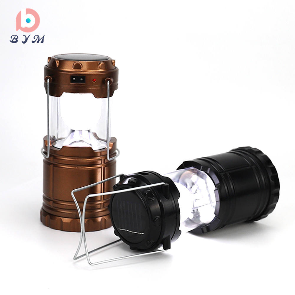 solar camping lamp 6 LED lantern rechargeable emergency outdoor camping light
