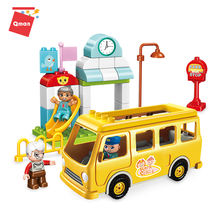 Qman  School Bus children's constructor enlighten brick toys for kid