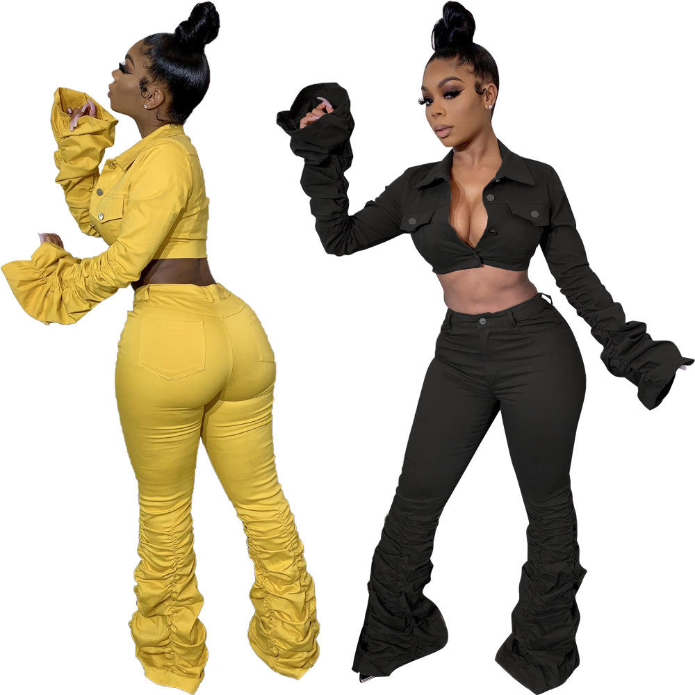 2020 New Fashion 2 Piece Set Outfits Stacked Pants Two Piece Set Womens Clothing