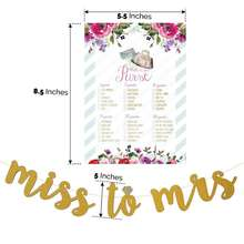 Bridal Shower Games Bundle Bonus Miss to Mrs. Gold Glitter Banner 50 pcs each style Advice for the Bride Cards