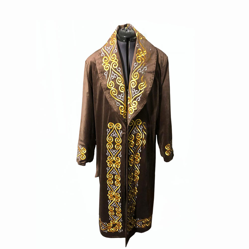 Gold or Silve r Ornament Kazakh Men Overcoat National Chapan With Headdress for Sale
