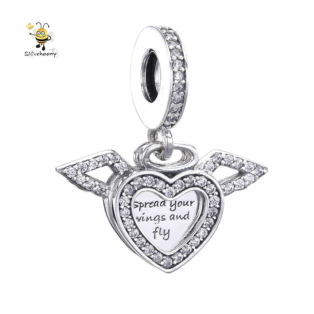 Slovehoony Angel Wing Charm Pendant Heart Silver Angel Wings Word Charms 798485C01