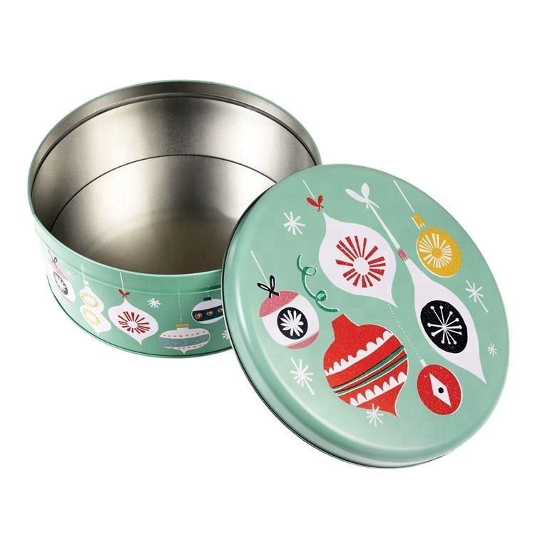 High Quality Christmas Round Cake Chocolate Tin Box