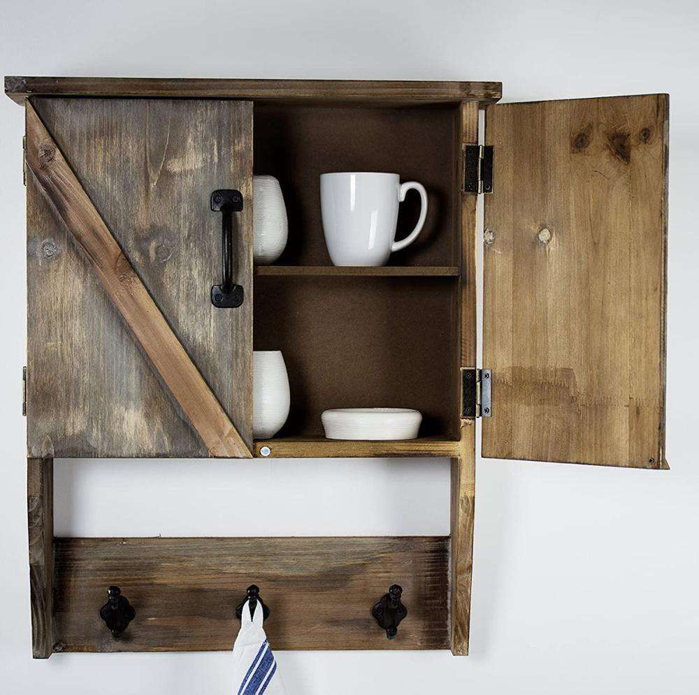 Factory custom Wall Rustic Wood Storage Cabinet with Shelves and Hooks