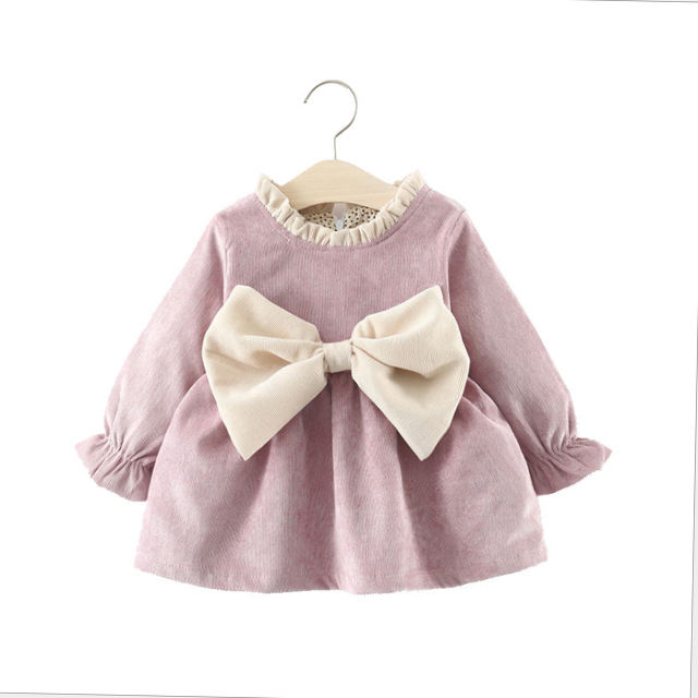 Autumn Winter Long-sleeved Corduroy Big Bowknot Princess Party Dress 1-6 years Sweet Girls Baby Dress Girls Clothes