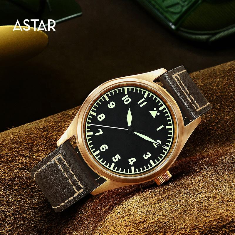 1pcs custom logo high quality bronze c3 Luminous 20atm japan nh35 pilot automatic mechanical movement watch man for sale