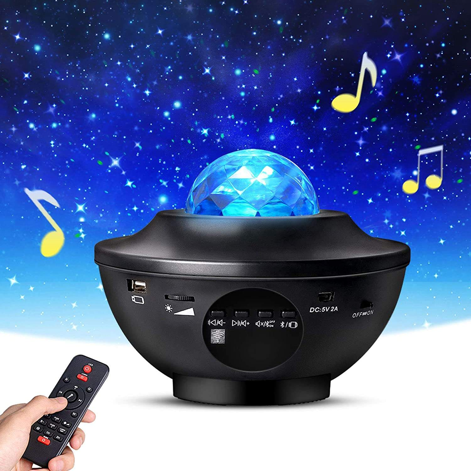 Star Projector,SkyProjector with Remote Control, Night Light Projector with LED Nebula Cloud/Moving Ocean Wave
