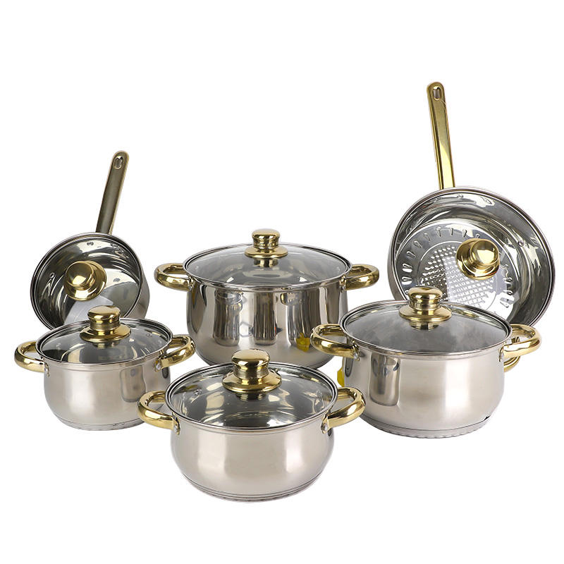 Factory OEM new prestige gold 12pcs cooker kitchen cooking pot stainless steel non stick cookware sets