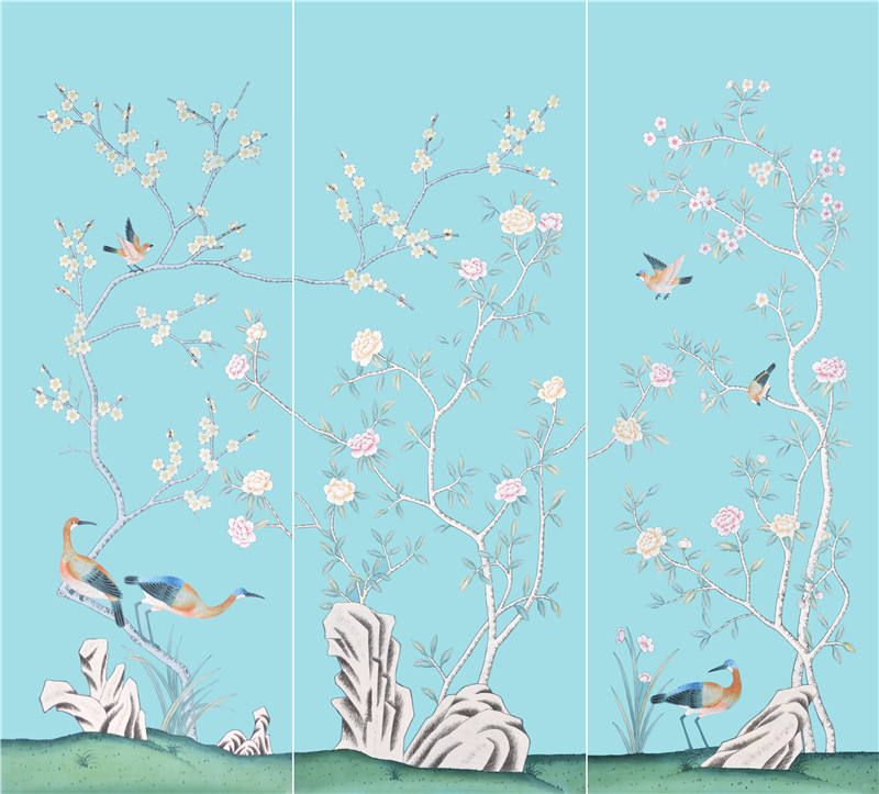 silk chinoiserie wallpaper hand painted wallpaper for home decoration