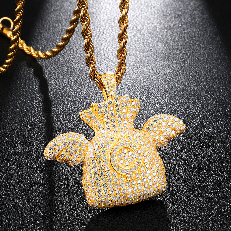 Iced Out Brass Dollar Money Bag Angel Wings Pendant & Necklace Cubic Zircon For Men Jewelry CZ dollar money