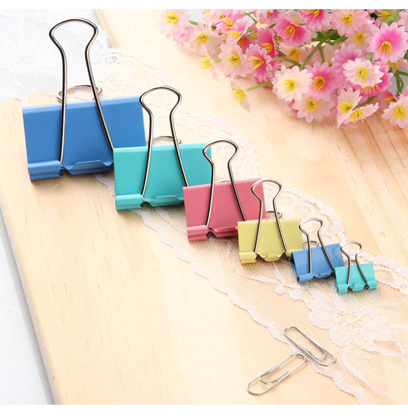 Wholesale 25mm clips book blue pink yellow colorful Metal Binder Clips for office desk