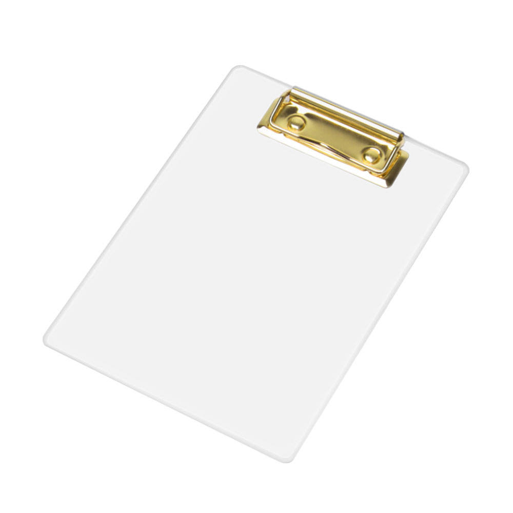 Custom B6 size transparent gold clear plastic clipboard with metal clip