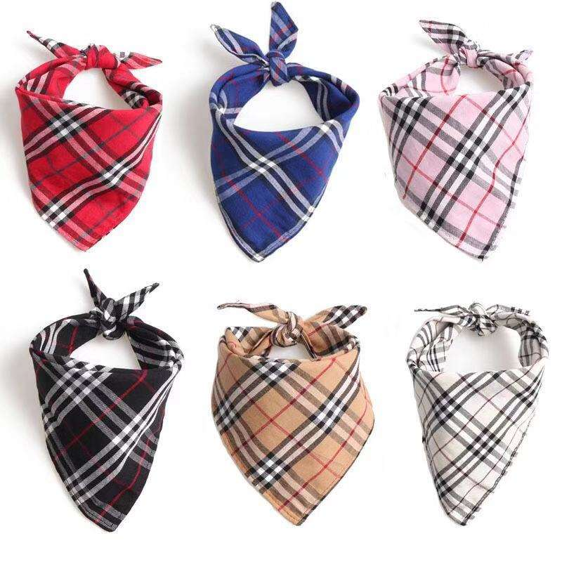 Wholesale Custom British Style Triangle Pet Safety Plaid Printed Dog bandana